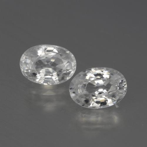 White Zircon Gem - 1.2ct Oval Facet (ID: 439840)