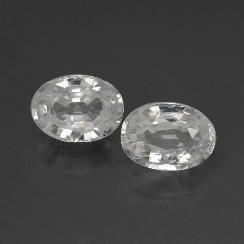 1.3ct Oval Facet White Zircon Gem (ID: 439927)
