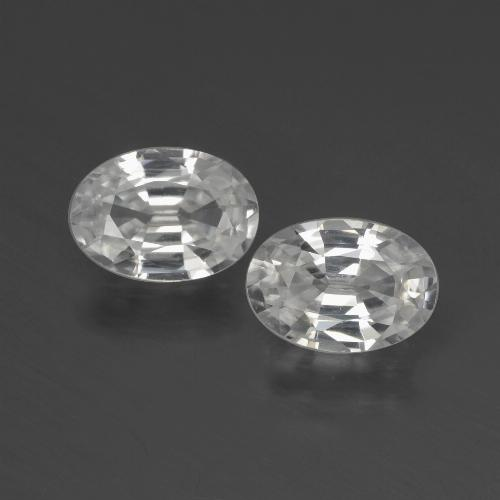 White Zircon Gem - 1ct Oval Facet (ID: 439937)