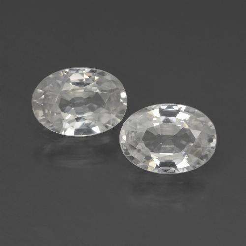 White Zircon Gem - 1.2ct Oval Facet (ID: 439991)