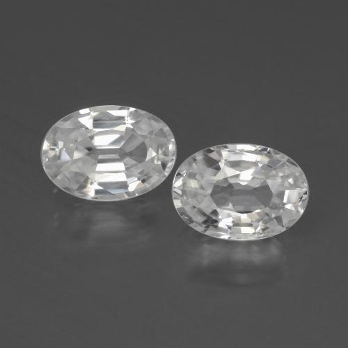 White Zircon Gem - 1.2ct Oval Facet (ID: 439993)