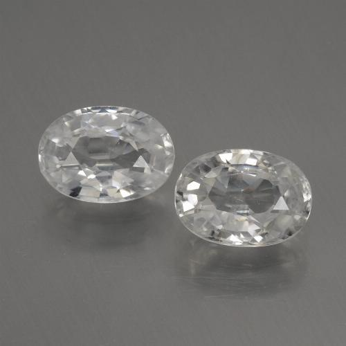 White Zircon Gem - 1.3ct Oval Facet (ID: 440325)