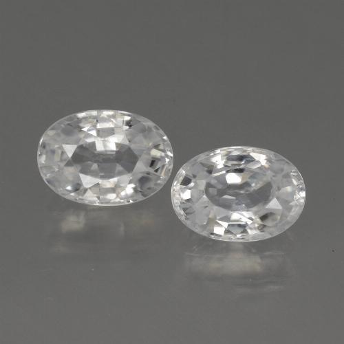 White Zircon Gem - 1.3ct Oval Facet (ID: 440331)