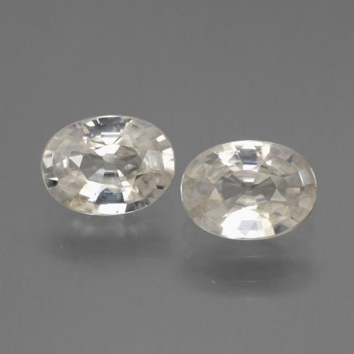 White Zircon Gem - 1ct Oval Facet (ID: 440387)