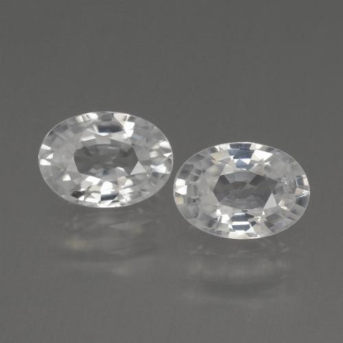 White Zircon Gem - 1.3ct Oval Facet (ID: 440389)