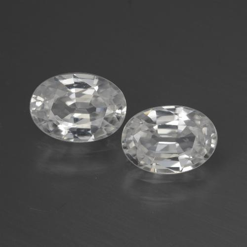 White Zircon Gem - 1.2ct Oval Facet (ID: 440533)