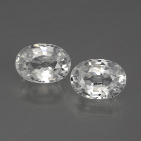 White Zircon Gem - 1.2ct Oval Facet (ID: 440768)