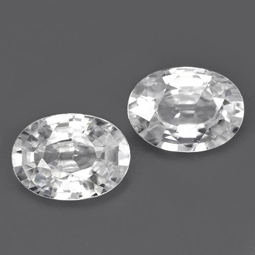 White Zircon Gem - 1.2ct Oval Facet (ID: 440779)