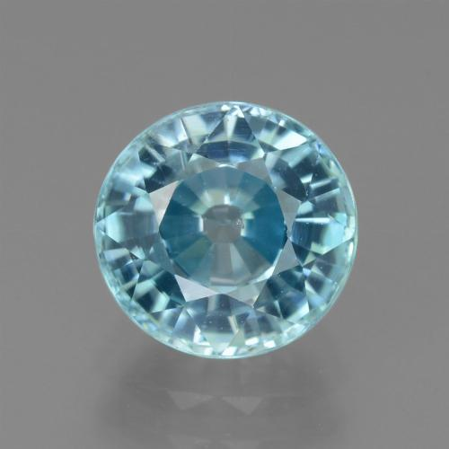 Blue Zircon Gem - 3.3ct Round Facet (ID: 445050)