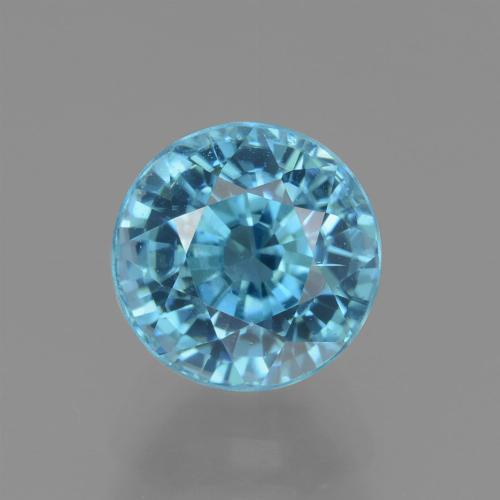Blue Zircon Gem - 3.3ct Round Facet (ID: 445053)