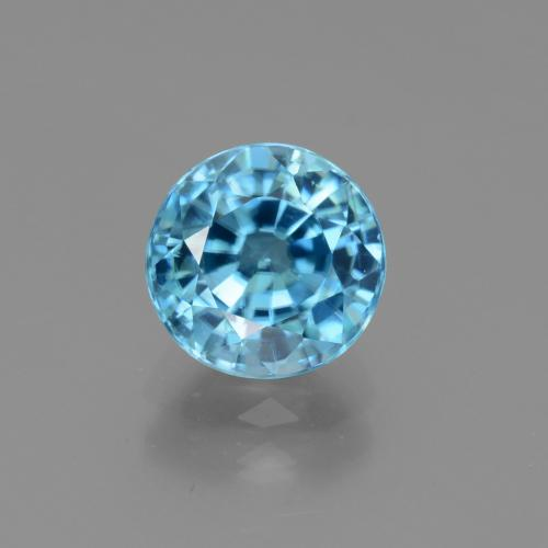 Blue Zircon Gem - 3.2ct Round Facet (ID: 447488)