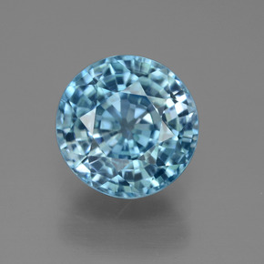 Blue Zircon Gem - 5.1ct Round Facet (ID: 450887)