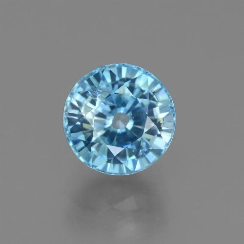 Blue Zircon Gem - 4ct Round Facet (ID: 450889)