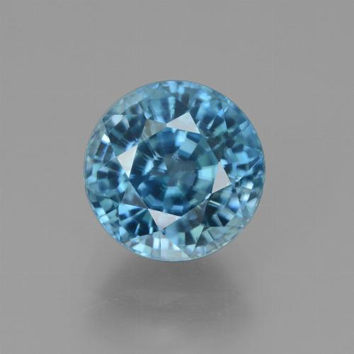 Blue Zircon Gem - 4.9ct Round Facet (ID: 450890)