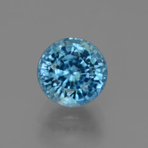Blue Zircon Gem - 4.2ct Round Facet (ID: 450891)