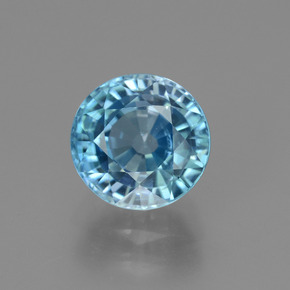 Blue Zircon Gem - 4ct Round Facet (ID: 450892)