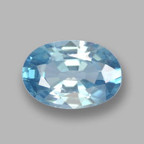 Blue Zircon Gem - 1.1ct Oval Facet (ID: 459368)