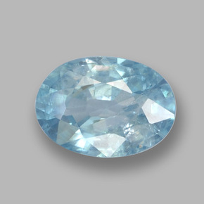 Blue Zircon Gem - 1.2ct Oval Facet (ID: 459375)