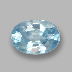 Blue Zircon Gem - 1.3ct Oval Facet (ID: 459377)