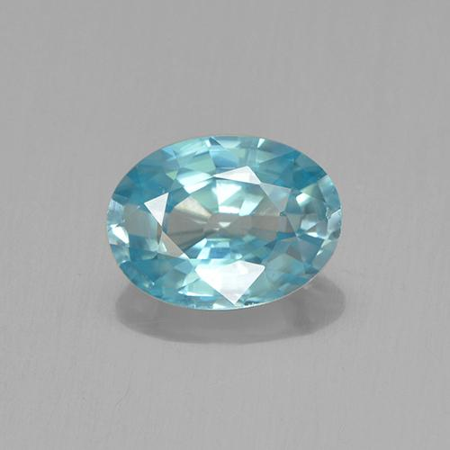 Blue Zircon Gem - 1.1ct Oval Facet (ID: 459378)