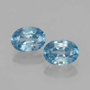 Blue Zircon Gem - 1.3ct Oval Facet (ID: 459747)