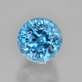 Blue Zircon Gem - 7.5ct Round Facet (ID: 459801)
