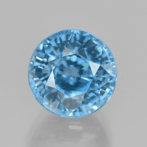 Blue Zircon Gem - 5ct Round Facet (ID: 459802)