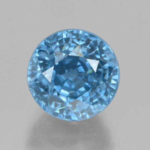 Blue Zircon Gem - 5.7ct Round Facet (ID: 459804)