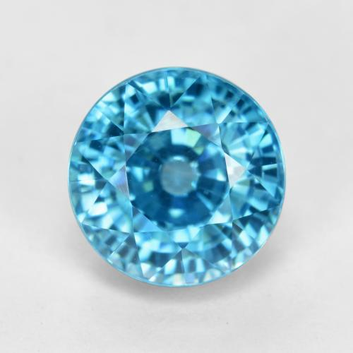 Blue Zircon Gem - 5.7ct Round Facet (ID: 459867)