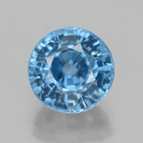 Blue Zircon Gem - 4.6ct Round Facet (ID: 459870)