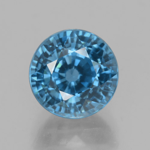 Blue Zircon Gem - 4.7ct Round Facet (ID: 459871)