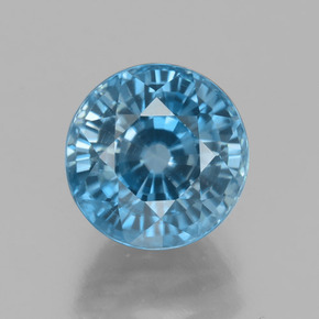 Blue Zircon Gem - 4.4ct Round Facet (ID: 459872)