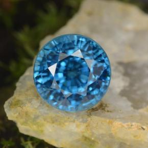 Blue Zircon Gem - 4.4ct Round Facet (ID: 459873)