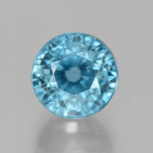Bleu Zircon Gem - 4.8ct Facette ronde (ID: 459874)