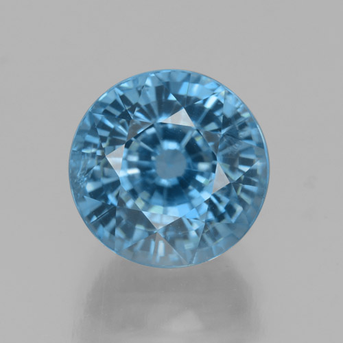 Blue Zircon Gem - 4.6ct Round Facet (ID: 459875)