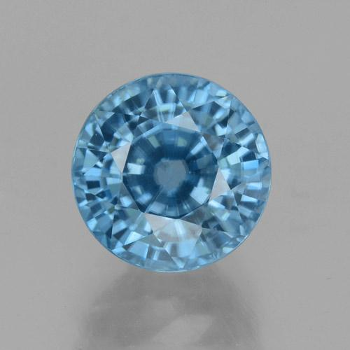 Blue Zircon Gem - 4.5ct Round Facet (ID: 459876)