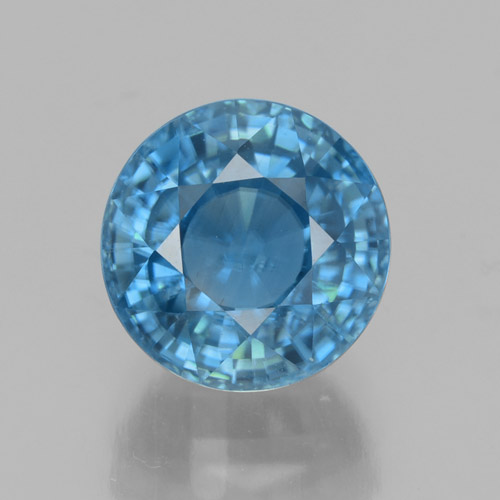 Blue Zircon Gem - 4.7ct Round Facet (ID: 459877)