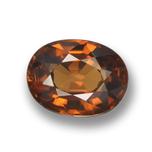Amber Orange Zircon Gem - 2.1ct Oval Facet (ID: 462931)