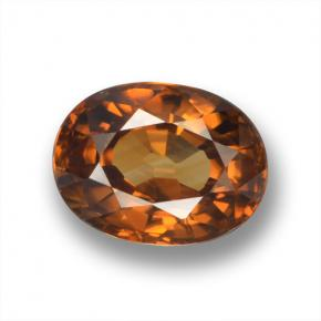Earth Orange Zircone Gem - 2.2ct Ovale sfaccettato (ID: 462932)