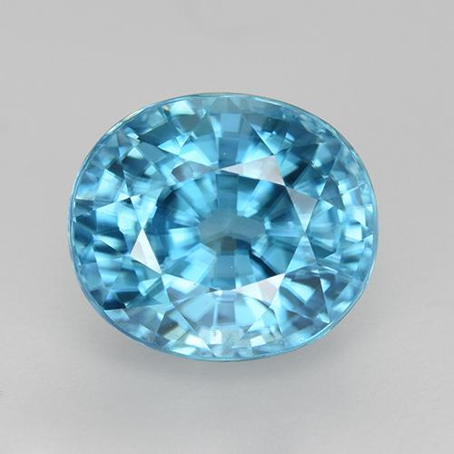 Blue Zircon Gem - 3.1ct Oval Facet (ID: 466816)