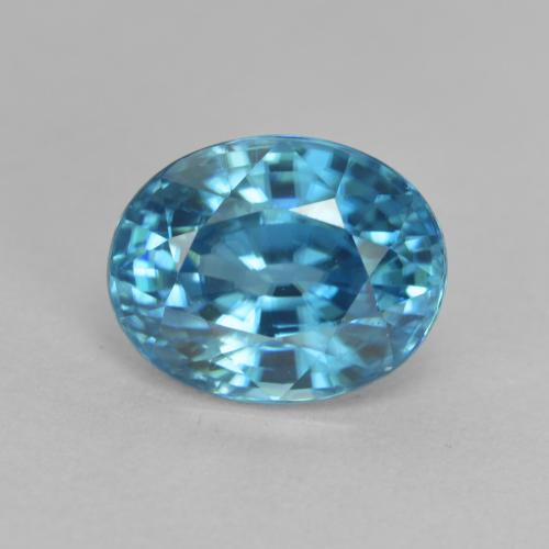 Blue Zircon Gem - 3.4ct Oval Facet (ID: 466817)