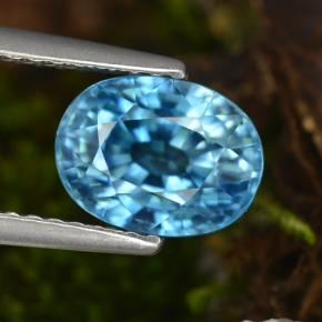 Blue Zircon Gem - 3.4ct Oval Facet (ID: 466824)