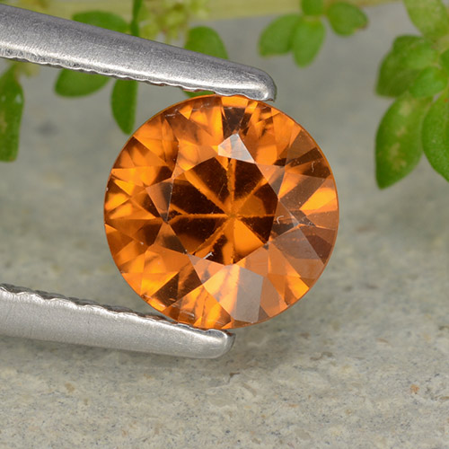 1.1ct Diamond-Cut Medium-Dark Orange Zircon Gem (ID: 481887)