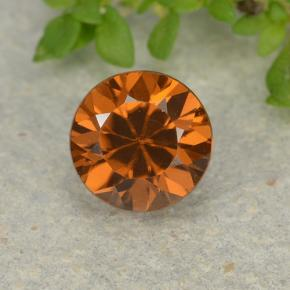 1.2ct Diamond-Cut Medium-Dark Orange Zircon Gem (ID: 481922)