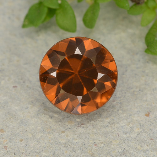1.2ct Diamond-Cut Dark Orange Zircon Gem (ID: 481923)