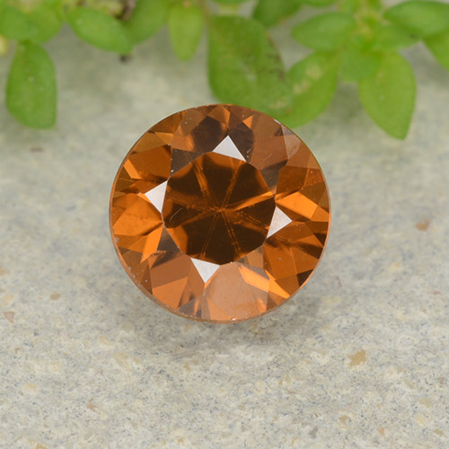 1.2ct Diamond-Cut Medium-Dark Orange Zircon Gem (ID: 481925)
