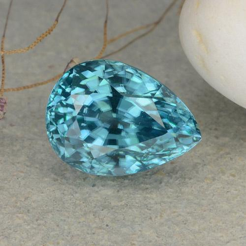 Blue Zircon Gem - 4.1ct Pear Facet (ID: 482021)