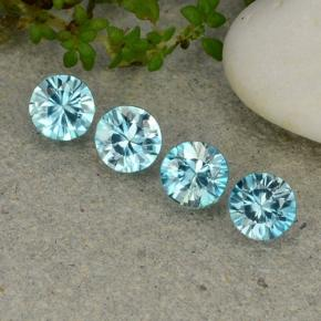 Blue Zircon Gem - 0.6ct Diamond-Cut (ID: 482382)