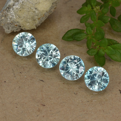 Light Greenish Blue Zirkon Edelstein - 0.5ct Diamanten-Schliff (ID: 482790)