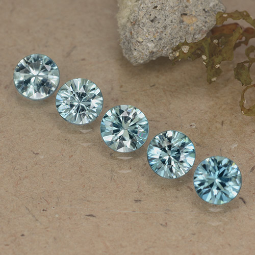 Blue Zircon Gem - 0.5ct Diamond-Cut (ID: 484640)